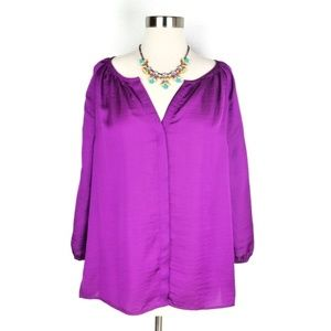 Talbots Purple Button Down Blouse Size 8